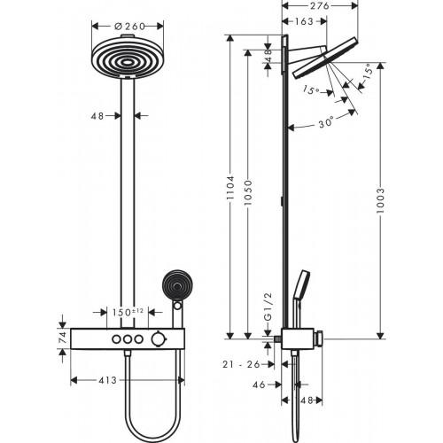 фото - Душевая система hansgrohe Pulsify Showerpipe 260 2jet EcoSmart с термостатом 24241670 черный матовый
