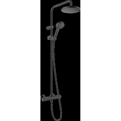 фото - Душевая система hansgrohe Vernis Blend Showerpipe 200 1jet EcoSmart с термостатом 26089670 черный матовый