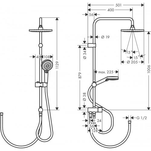 фото - Душевая система hansgrohe Vernis Blend Showerpipe 200 1jet Reno EcoSmart 26099670 черный матовый