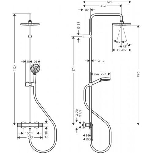 фото - Душевая система hansgrohe Vernis Blend Showerpipe 200 1jet с термостатом 26276670 черный матовый