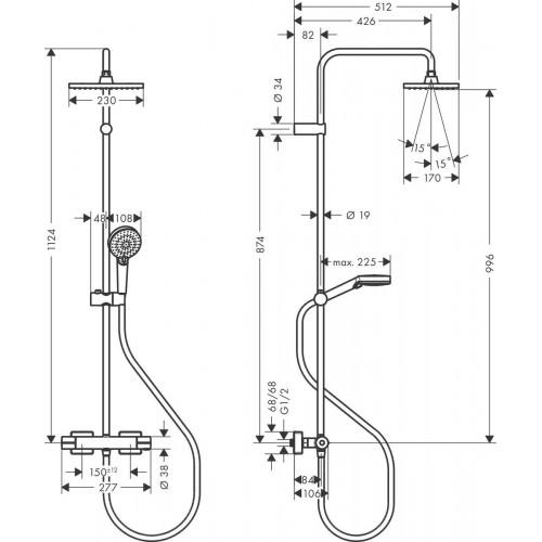 фото - Душевая система hansgrohe Vernis Shape Showerpipe 230 1jet EcoSmart с термостатом 26097000 хром