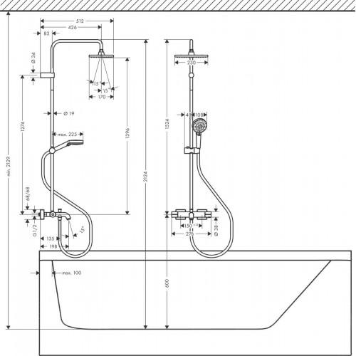 фото - Душевая система hansgrohe Vernis Shape Showerpipe 230 1jet с термостатом для ванны 26284000 хром