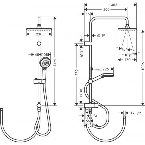 фото - Душевая система hansgrohe Vernis Shape Showerpipe 230 1jet Reno EcoSmart 26289000 хром