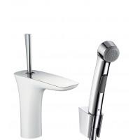 Смеситель hansgrohe PuraVida для раковины с гигиеническим душем и сливным клапаном Push-Open, белый/хром 15275400