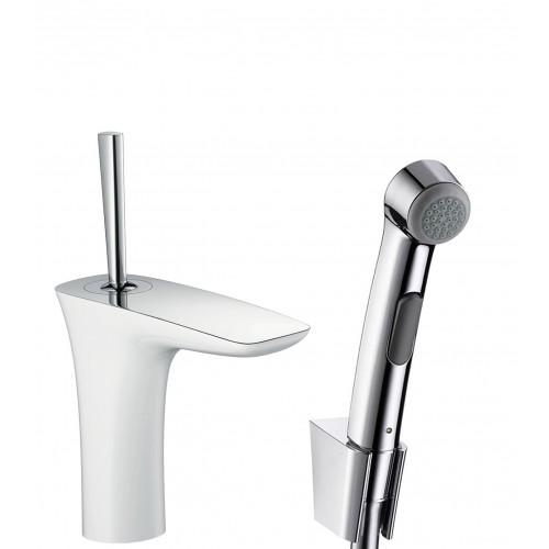 фото - Смеситель hansgrohe PuraVida для раковины с гигиеническим душем и сливным клапаном Push-Open, белый/хром 15275400