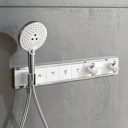 фото - Термостат hansgrohe RainSelect для душа на 3 потребителя, белый/хром 15356400