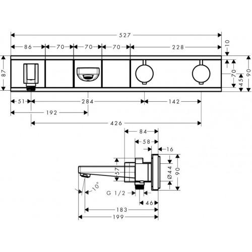фото - Термостат hansgrohe RainSelect для ванны с 2 потребителями, хром 15359400