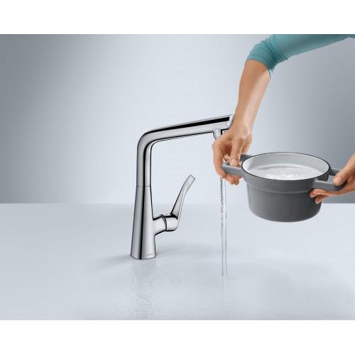 фото - Змішувач hansgrohe Metris Select для кухонної мийки з високим гусаком, під сталь 14883800