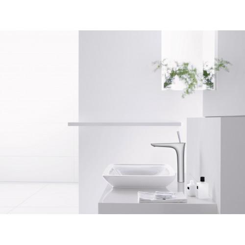 фото - Смеситель hansgrohe PuraVida для раковины со сливным гарнитуром, белый/хром 15074400