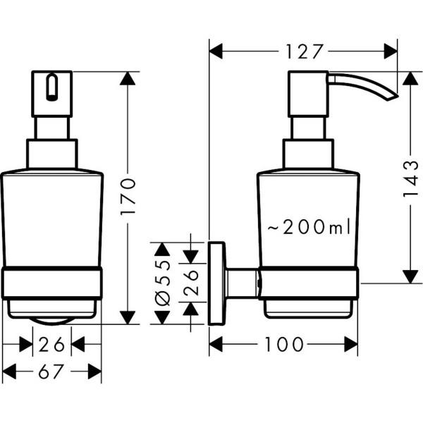 фото - Дозатор для жидкого мыла Hansgrohe Logis Universal 41714000, 200 мл/2 мл
