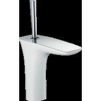 Смеситель hansgrohe PuraVida для раковины со сливным клапаном Push-Open, белый/хром 15070400