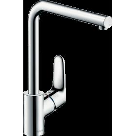 Змішувач hansgrohe Focus для кухонної мийки з поворотним L-образним гусаком на 3 положення, хром 31817000