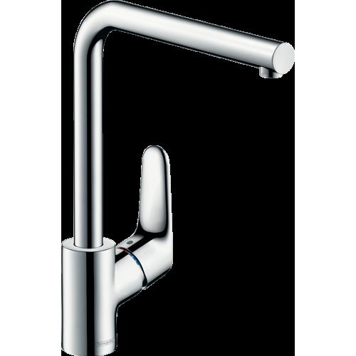 фото - Змішувач hansgrohe Focus для кухонної мийки з поворотним L-образним гусаком на 3 положення, хром 31817000