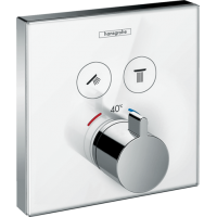 Термостат hansgrohe ShowerSelect Glass для двух потребителей стеклянный, белый/хром 15738400
