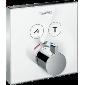 Термостат hansgrohe ShowerSelect Glass для двох споживачів скляний, білий / хром 15738400