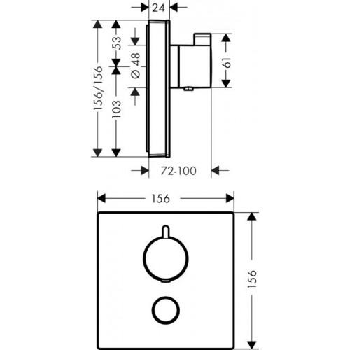 фото - Термостат hansgrohe ShowerSelect Highfow для душа с отдельным выводом для ручного душа, стеклянный 15735600