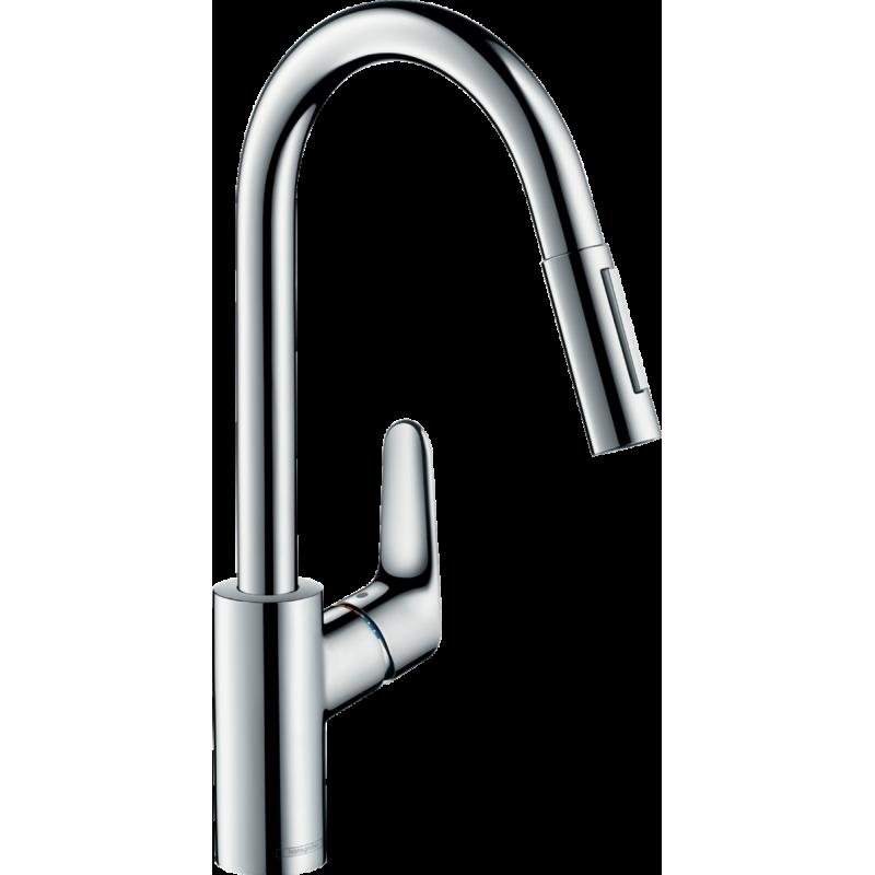 фото - Смеситель hansgrohe Focus для кухонной мойки с выдвижным душем, хром 31815000