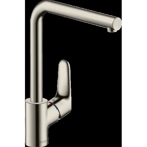 фото - Смеситель hansgrohe Focus для кухонной мойки с L-образным поворотным изливом, сталь 31817800