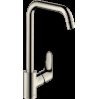 Змішувач hansgrohe Focus для кухонної мийки з поворотним гусаком на 3 положення, сталь 31820800