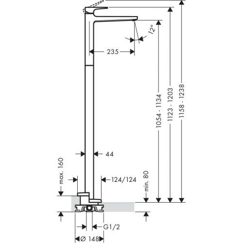 фото -  Змішувач для раковини hansgrohe Metropol змішувач підлоговий без зливного гарнітура, хром 32530000