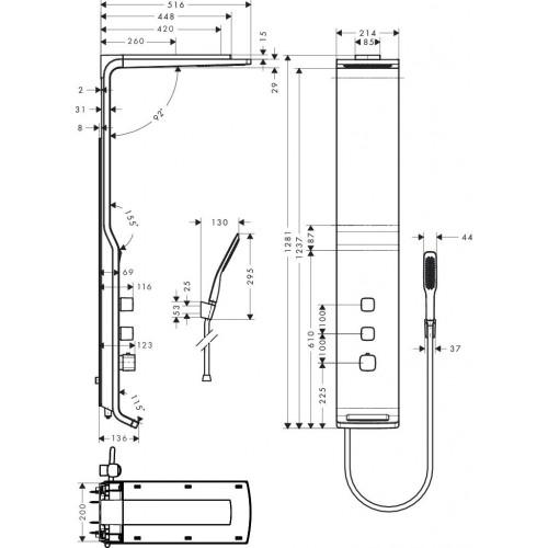 фото - Душевая панель hansgrohe Raindance Lift 180 2jet с термостатом, белый/хром 27008400