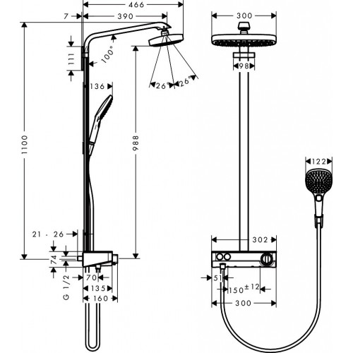 фото -  Душова система hansgrohe Raindance Select E 300 2jet Showerpipe з термостатом, білий/хром 27126400