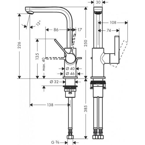 фото - Смеситель hansgrohe Metris S для раковины с поворотным изливом и сливным гарнитуром, хром 31159000