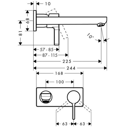 фото -  Змішувач hansgrohe Metris S для раковини настінний з довгим виливом, хром 31163000