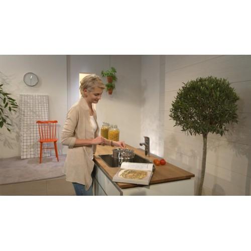 фото - Змішувач hansgrohe Focus для кухонної мийки з поворотним гусаком, сталь 31806800