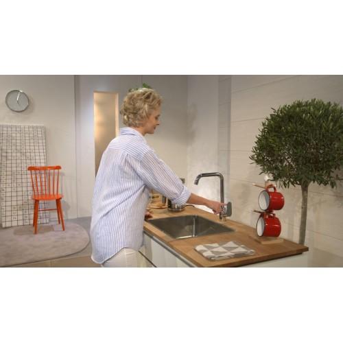 фото - Змішувач hansgrohe Focus для кухонної мийки з поворотним гусаком на 3 положення, сталь 31820800