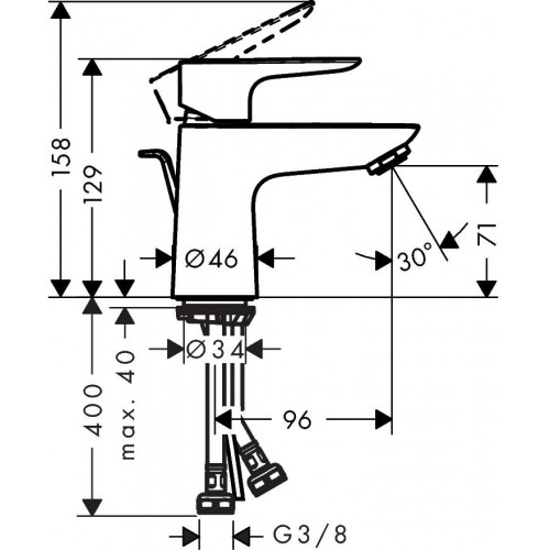фото - Змішувач hansgrohe Talis E для раковини з зливним гарнітуром, хром 71700000