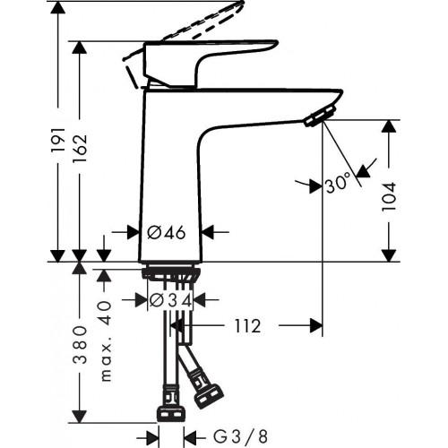 фото - Смеситель для раковины hansgrohe Talis E со сливным клапаном push-open, хром 71711000