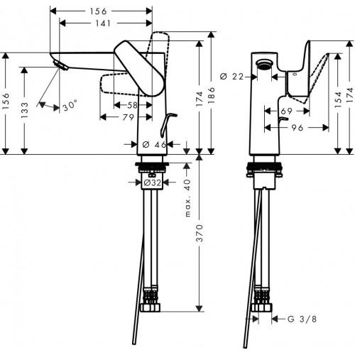 фото -  Змішувач hansgrohe Talis E для раковини із зливним гарнітуром, хром 71754000