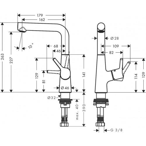 фото -  Змішувач hansgrohe Talis S для раковини з поворотним виливом та зливним гарнітуром, хром 72105000