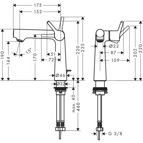 фото -  Змішувач hansgrohe Talis S для раковини із зливним гарнітуром, хром 72113000