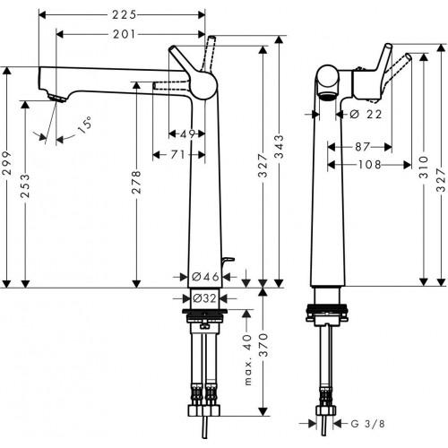 фото -  Змішувач hansgrohe Talis S для раковини з високим виливом та зливним гарнітуром, хром 72115000