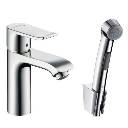 фото - Смеситель hansgrohe Metris для раковины с гигиеническим душем и сливной клапан Push-Open 31285000