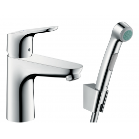 Змішувач hansgrohe Focus для раковини з гігієнічним душем і донним клапаном Push-Open 31927000