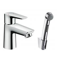 Смеситель hansgrohe Talis E со сливным клапаном Push-Open для раковины с гигиеническим душем, хром 71729000
